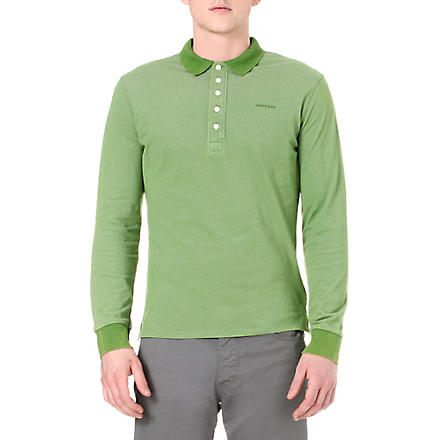 ARMANI JEANS Washed-piqué long-sleeved polo shirt (Green