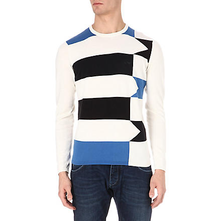 ARMANI JEANS Striped knitted jumper (White/blue