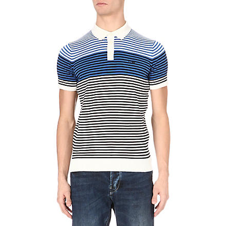 ARMANI JEANS Striped polo shirt (White/blue