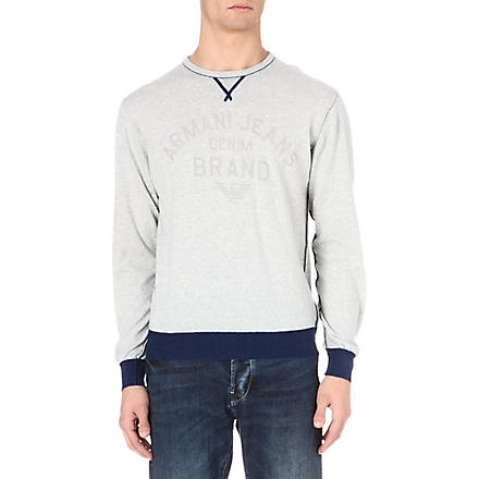 ARMANI JEANS Logo knitted jumper (Grey