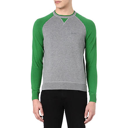 ARMANI JEANS Contrast sleeve knitted jumper (Grey/green
