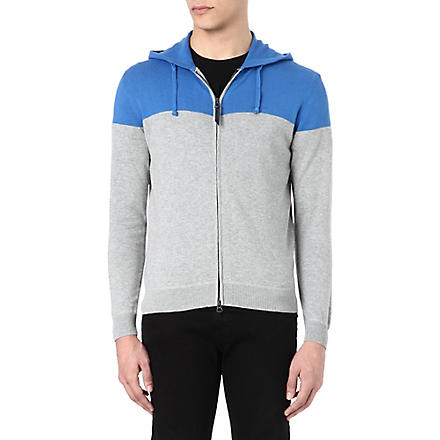 ARMANI JEANS Contrast-yoke knitted hoody (Blue/grey