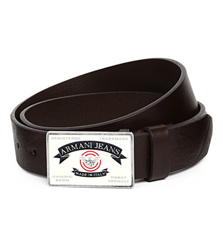 ARMANI JEANS Made in Italy leather belt (Brown