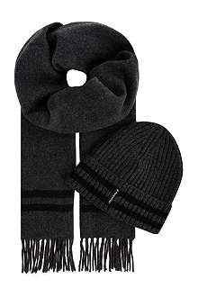 ARMANI JEANS Striped scarf & beanie set