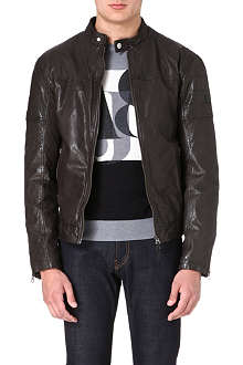 ARMANI JEANS Leather biker jacket