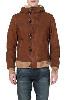 ARMANI JEANS Hooded leather jacket