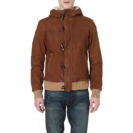 ARMANI JEANS Hooded leather jacket (Tan