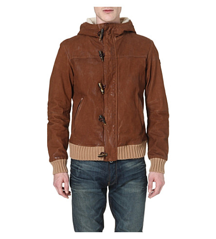 ARMANI JEANS Hooded leather jacket (Tan