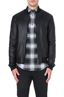 ARMANI JEANS Leather bomber jacket