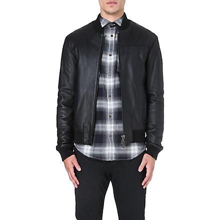 ARMANI JEANS Leather bomber jacket (Black