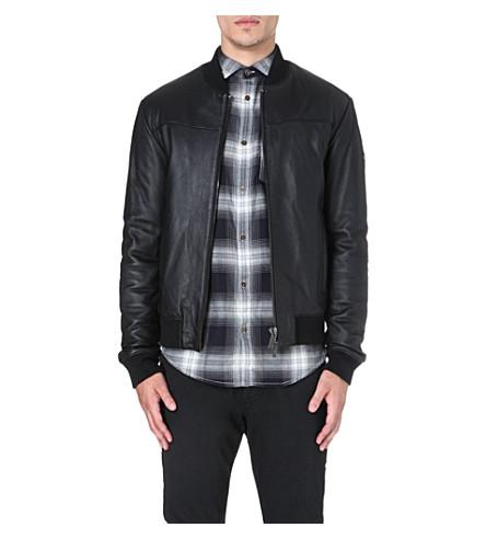 ARMANI JEANS Leather bomber jacket (Black