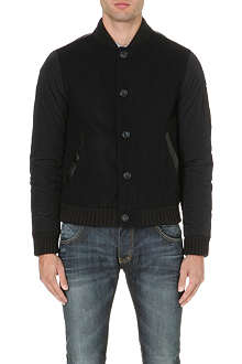 ARMANI JEANS Quilted-sleeve bomber jacket