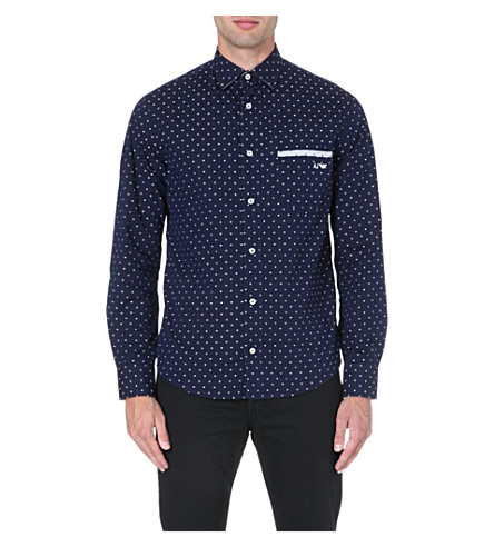 ARMANI JEANS Printed cotton shirt (Navy