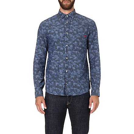 ARMANI JEANS Eagle-print cotton shirt (Blue