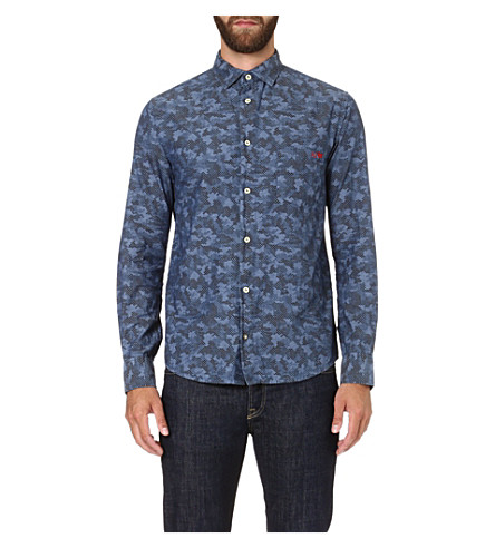 ARMANI JEANS Eagle-print cotton shirt (Blue