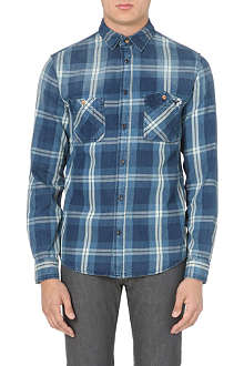 ARMANI JEANS Checked embroidered-seam shirt