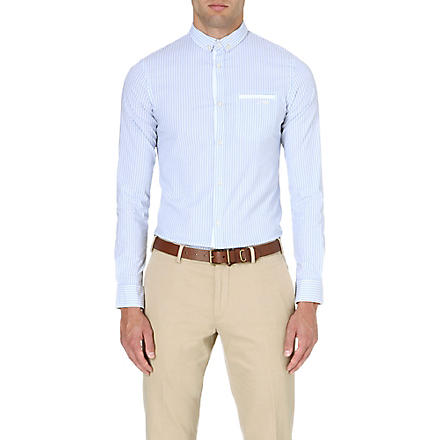 ARMANI JEANS Striped extra slim-fit shirt (Blue/white
