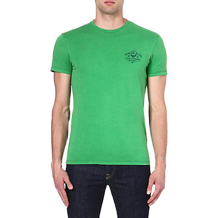 ARMANI JEANS Logo cotton t-shirt (Green