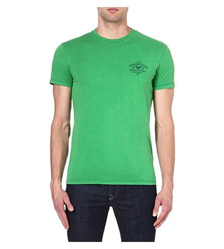 ARMANI JEANS Logo cotton t-shirt (Green