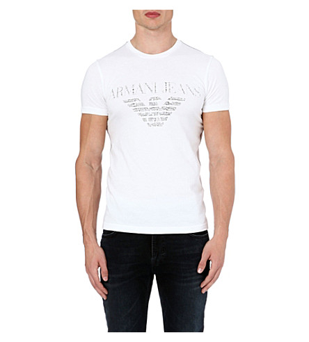 ARMANI JEANS Eagle-print t-shirt (White