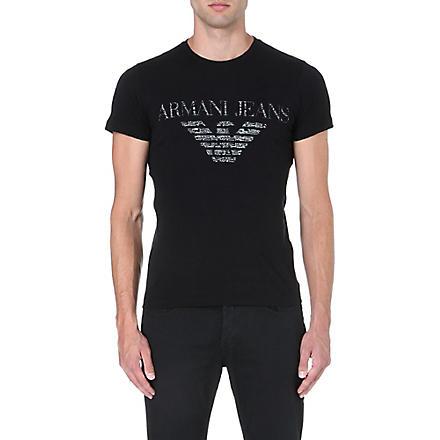 ARMANI JEANS Eagle-print t-shirt (Black