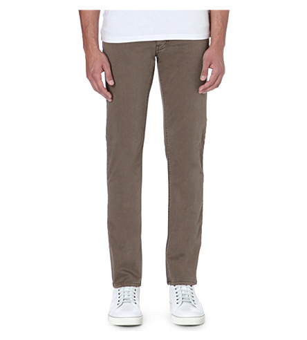ARMANI JEANS Slim-fit sateen chinos (Green