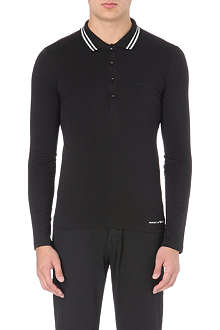 ARMANI JEANS Striped-collar long-sleeved polo shirt