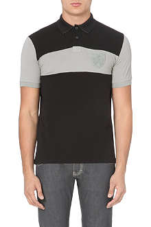 ARMANI JEANS Striped crest-detail polo shirt