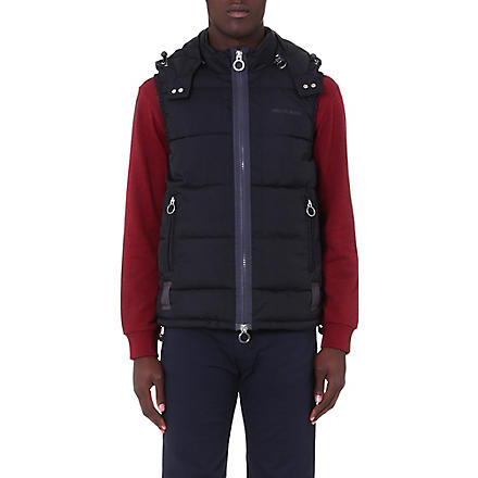 ARMANI JEANS Hooded quilted gilet (Black