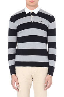 ARMANI JEANS Striped-knit rugby shirt