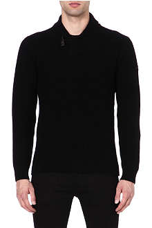 ARMANI JEANS Shawl-collar knitted jumper