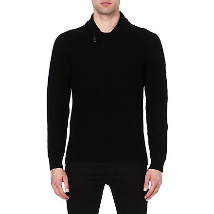 ARMANI JEANS Shawl-collar knitted jumper (Black