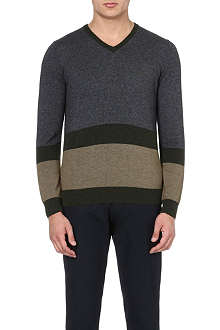 ARMANI JEANS V-neck colour-block jumper