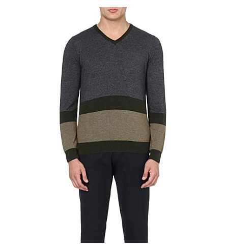 ARMANI JEANS V-neck colour-block jumper (Grey