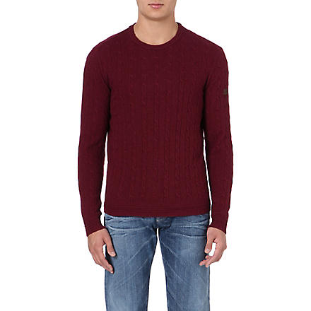ARMANI JEANS Cable-knit jumper (Bordeaux