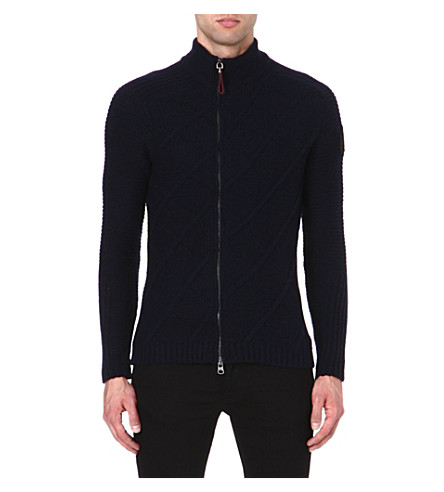 ARMANI JEANS Chunky asymmetric zip cardigan (Navy