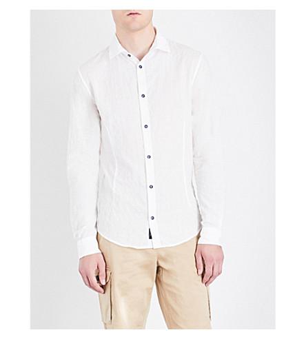 ARMANI JEANS Textured check slim-fit cotton shirt (Blanco