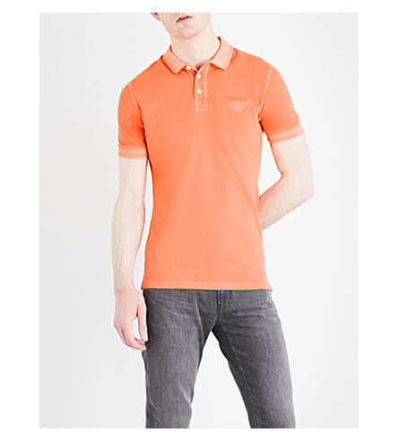 ARMANI JEANS Embossed-logo cotton-piqué polo shirt (Arancio