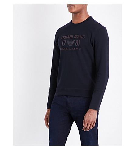 ARMANI JEANS Rubber-print cotton-jersey sweatshirt (Blue+notte