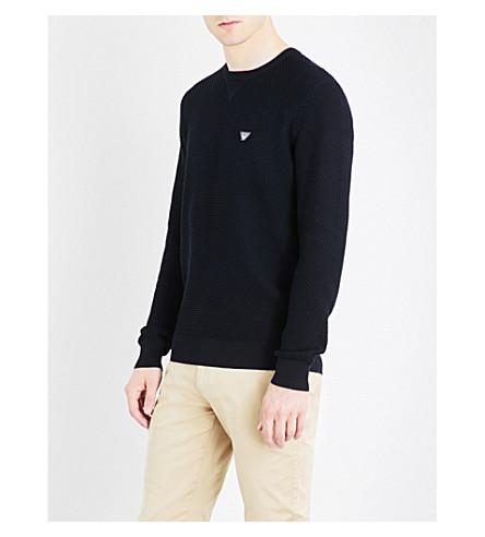 ARMANI JEANS Eagle-patch cotton-jersey sweatshirt (Blue