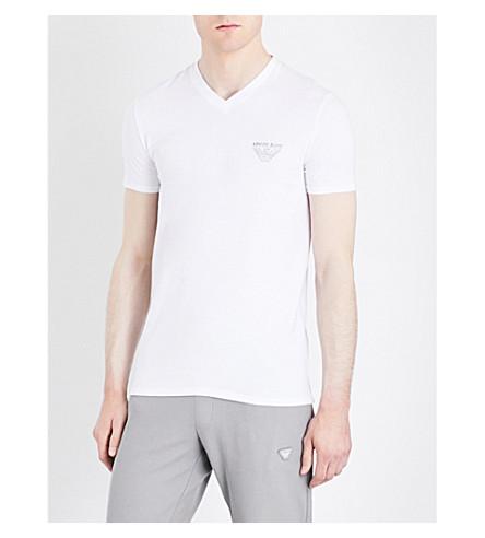 ARMANI JEANS Eagle-print stretch-cotton T-shirt (Blanco