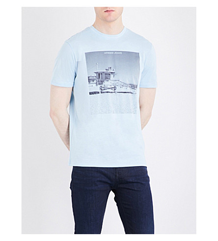 ARMANI JEANS Photo-print cotton-jersey T-shirt (Azzuro