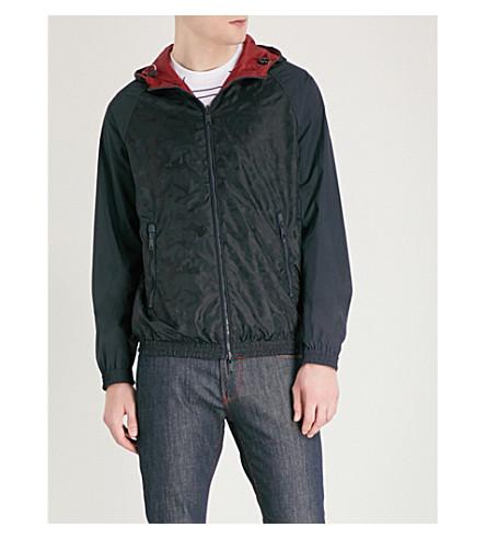 EMPORIO ARMANI Reversible camo-print shell jacket (Navy