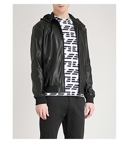 EMPORIO ARMANI Hooded faux-leather bomber jacket (Black