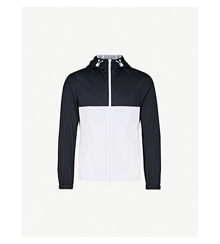 EMPORIO ARMANI Hooded shell jacket (Navy/wht