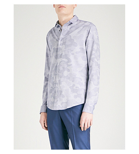 EMPORIO ARMANI Camouflage-print slim-fit cotton shirt (Blue