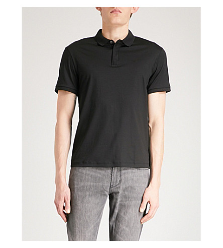 EMPORIO ARMANI Logo-embroidered cotton polo shirt (Black