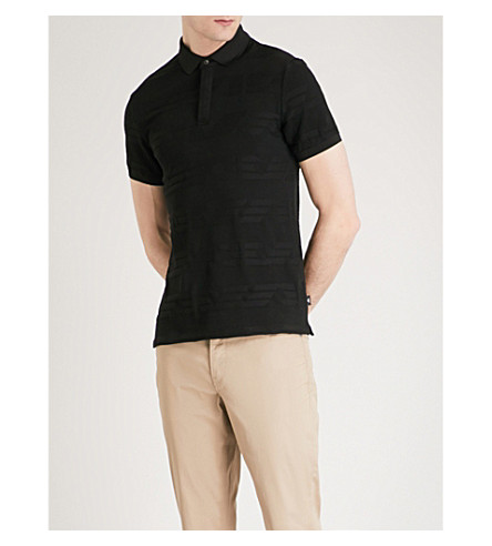 EMPORIO ARMANI Intarsia knitted polo shirt (Black