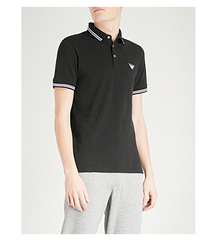 EMPORIO ARMANI Logo-embroidered slim-fit cotton-blend polo shirt (Black