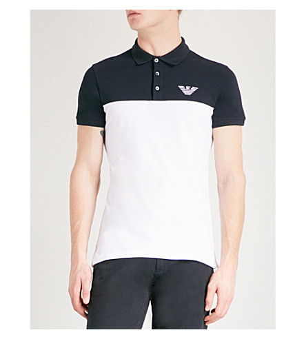 EMPORIO ARMANI Eagle-embroidered cotton-piqué polo shirt (Blue